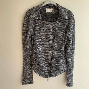 Anthro Black White Lightweight Knit Jacket S
